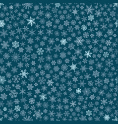 seamless pattern of snowflakes white on blue vector image vector image