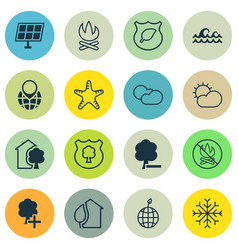 Set of 16 eco-friendly icons includes snow clear vector