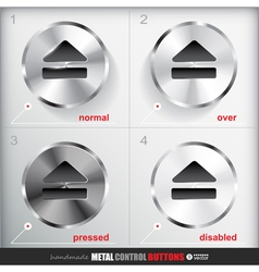 Set of four positions of circle metal eject button vector