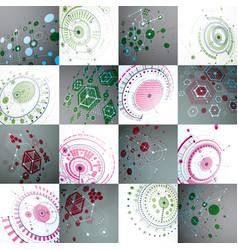 Set of modular bauhaus 3d backdrops created from vector