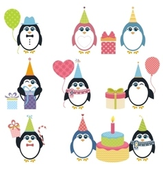 Set of penguins in winter vector
