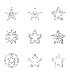 Types of stars icons set outline style vector