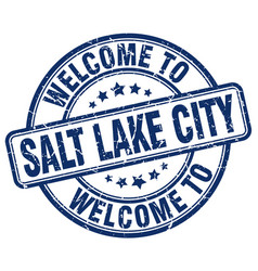 Welcome to salt lake city blue round vintage stamp vector
