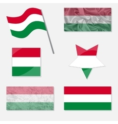 Set with flags of hungary vector