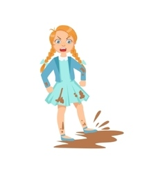 Girl doing splash in mud puddle teenage bully vector