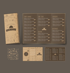 Template of retro folding triple menu for cafes vector