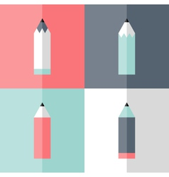 Flat pencil icon set vector