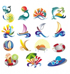 Summer beach travel clip art vector