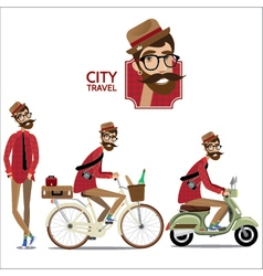 Set of city travelers vector