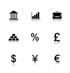 Bank drop shadow icons set vector