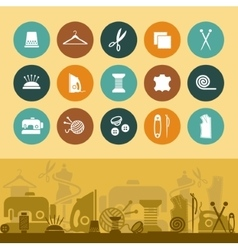 Sewing and needlework icons and banner vector