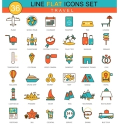 Travel traveling flat line icon set modern vector