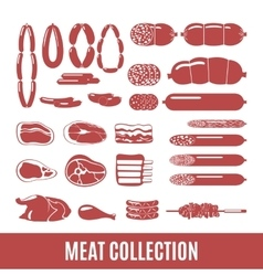 Set of meat and sausage icons vector