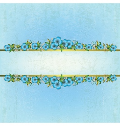 abstract grunge blue background with floral vector image vector image
