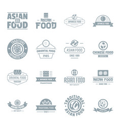 Asian food logo icons set simple style vector