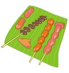 Banana leaf kebabs vector