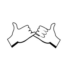 Cartoon hands pinky promise gesture image vector