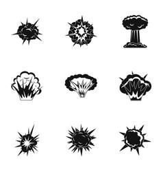 Explosion destruction icons set simple style vector