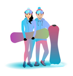 extreme couple with snowboards vector image vector image