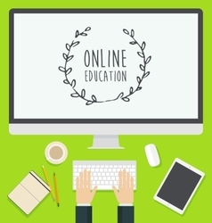 Flat design concept web online education trendy vector