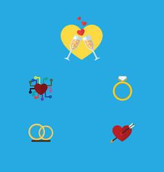 flat icon heart set of celebration ring heart vector image