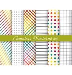 Geometric rainbow and gray seamless pattern set vector