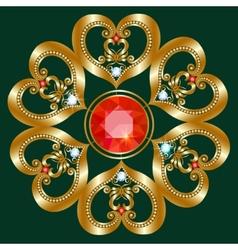 Gold brooch vector