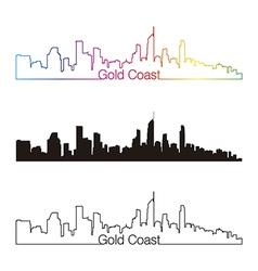 Gold coast skyline linear style with rainbow vector