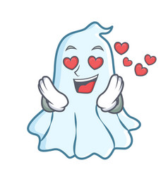 in love cute ghost character cartoon vector image vector image