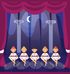 little ballerina girls on a theater stage in vector image vector image