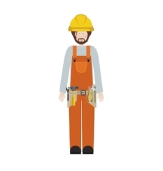 Male worker with toolkit and beard vector