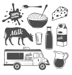 Milk Monochrome Elements Set vector image vector image