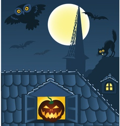 night town roofs vector image
