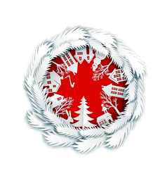 paper art cristmas decorated ball vector image