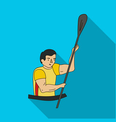 rower in a boat with a paddle in hand down to the vector image