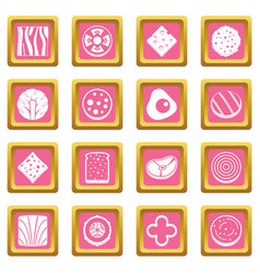 slice food ingredient icons pink vector image