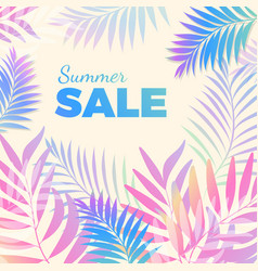 Summer sale bright poster with palm leaves on vector