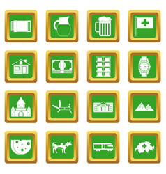 Switzerland icons set green vector
