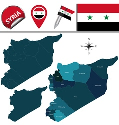 Syria map with named divisions vector