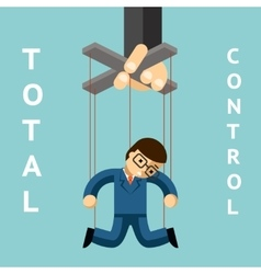 Total control businessman puppet vector