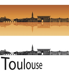 Toulouse skyline in orange background vector image