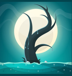 Tree moon grass landscape vector