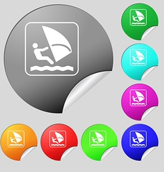Windsurfing icon sign Set of eight multi colored vector image