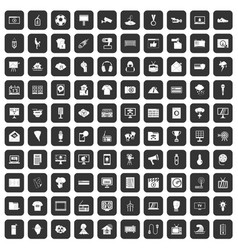 100 tv icons set black vector