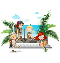 Children in safari outfit on computer screen vector