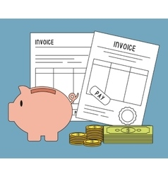 Document bills coins piggy invoice payment icon vector