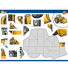 Jigsaw puzzle with bulldozer vector