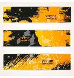 Abstract black and yellow handdraw banner set vector