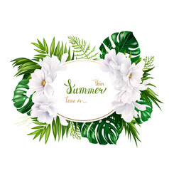 Holiday banner with tropical palm monstera leaves vector