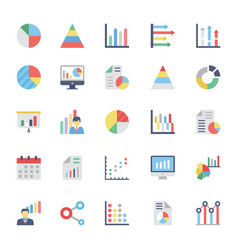 business charts and diagrams colored icons 1 vector image